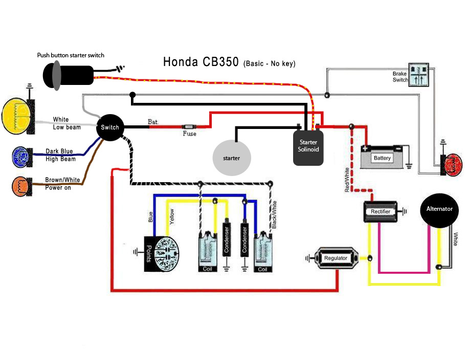 1968 honda cl350 wiring diagram wirdig starter wiring diagram as well 1972 honda 350 wiring diagram moreover